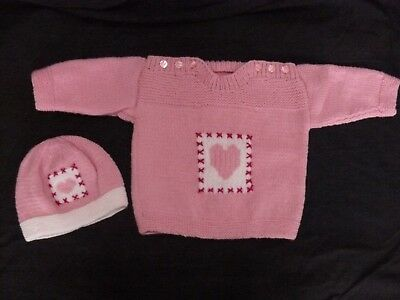 Hand Knitted Jumper To Fit Approx 12 Month Old Child With Matching Hat.