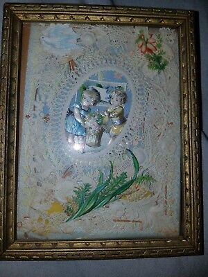 1880s ANTIQUE LAYERED CARD ORNATE LACE VICTORIAN VINTAGE POP-UP w/ FRAME