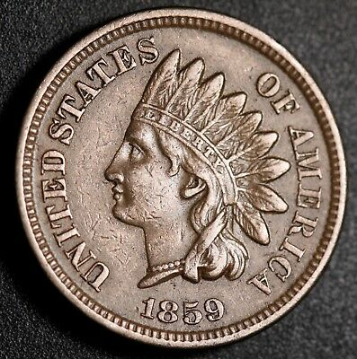 1859 INDIAN HEAD CENT - With LIBERTY & DIAMONDS - Strong XF EF
