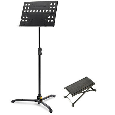 Hercules Tripod Orchestra Music Sheet Stand w/ Guitar Foot Stool Adjustable