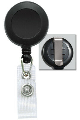 100 x Retractable Card Holder Reel ID Key Badge Tag Clip Black Reinforced Strap
