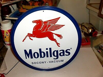 MobilGas`1997`Gas Pump Round Pegasus Metal Sign,Licensed->Mobil Oil->Free To US