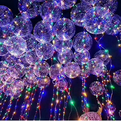 "20"" LED Light Balloons Transparent Balloon Wedding Birthday Party Lights Decor"