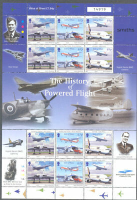 Isle of Man-History of Aviation-complete sheets mnh 2003-Military