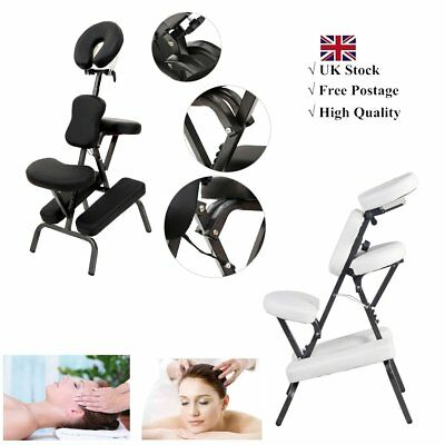 portable massage chair salon beauty tattoo stool black white leather