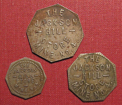 Lot Of (3) Jackson Hill Mine #4 Coal Tokens - Two Listed R10 + One Undocumented!