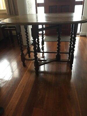 Antique Barley Twist Solid Oak Gate Leg Table (pick up only, Perth)
