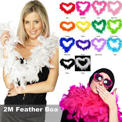 2M Feather Boa Strip Fluffy Craft Costume Fancy Dress Party Wedding Decoration
