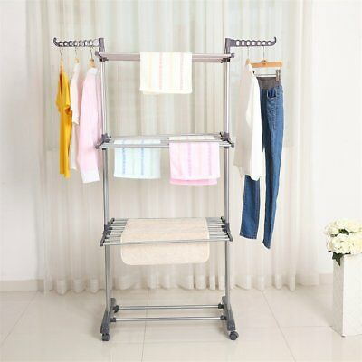 3 Tier Foldable Clothes Airer Laundry Dryer Rack In Outdoor Dry Rail Hanger SE