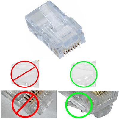 Lot10 KEYED STRANDED wire KEY RJ45 Crimp-On cable End 8P8C modular connector$SH