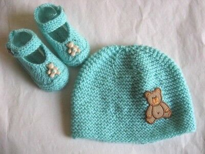 Hand knitted baby beanie/hat and booties to fit 3-6 months