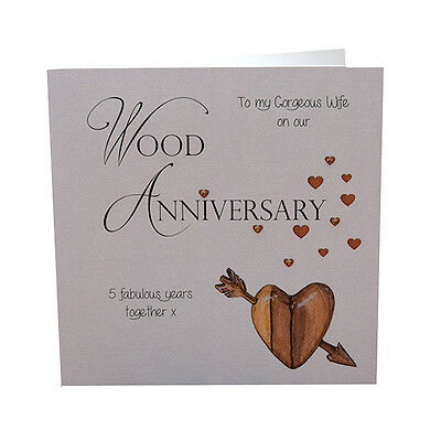 5th Wood Wedding Anniversary Card Gorgeous Wife Crystals Luxury Handmade 3 70 Picclick Uk
