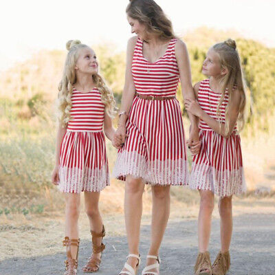 03243027ad Matching mother and daughter Lace Stripe clothes mom mommy me dress family  look