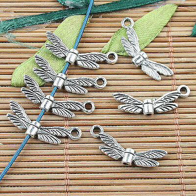 16mm Tibetan Silver 40 Pcs Silver Tone Dainty Wing Spacer Charms Beads R78