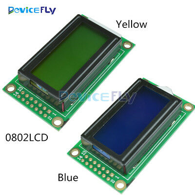 Yellow/Blue 8x2 0802 Character LCD Display Module 5V LCM F Raspberry pi Arduino