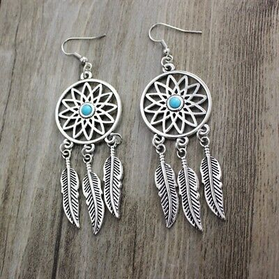 Sterling Silver Bohemia Vintage Dream Catcher Long Feather Drop Earrings