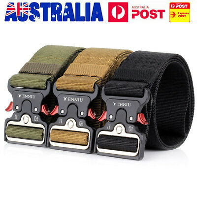 Men Military Heavy Duty Tactical Belt Quick Release Buckle Army Combat Waistband