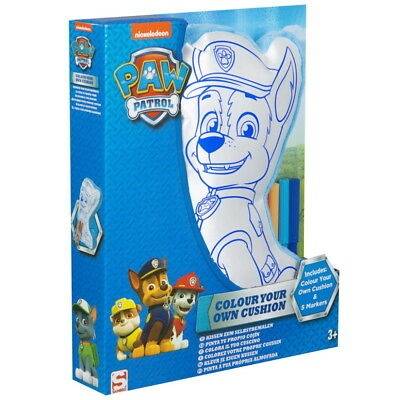 NEW OFFICIAL Paw Patrol Chase Boys Kids Colour Your Own Cushion Craft Set