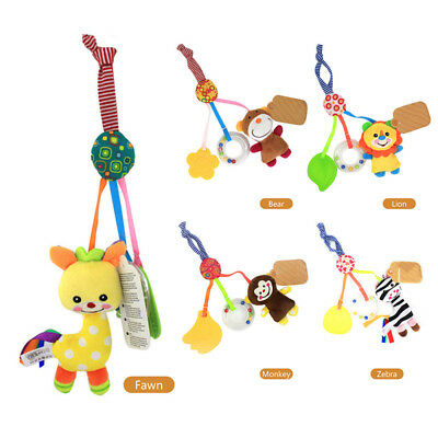 Newborn Baby Stroller Rubber Ring Shake Rattle Small Musical Crib Hanging Toy