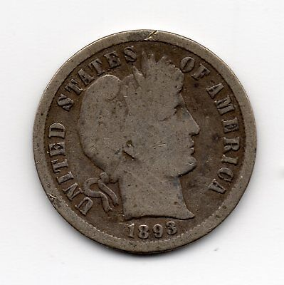 1893-S silver Barber Dime - free shipping