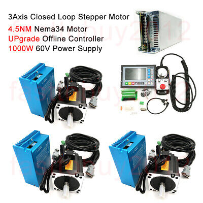 4.5NM Nema34 3Axis Closed Loop Stepper Motor Drive &CNC Controller &Power Supply