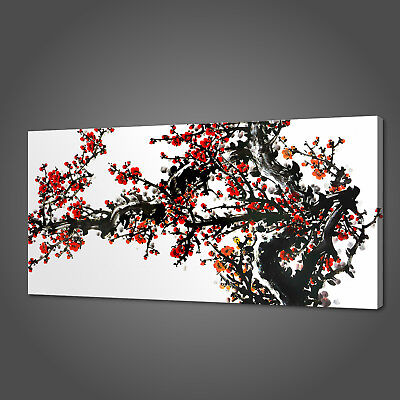Oriental Art Chinese Red Blossoms Canvas Print Picture Wll Art Free Delivery