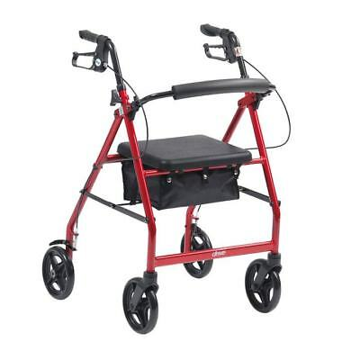 """Drive Red Folding Rollator with Seat 6"""" Wheels Walker Walking Frame Mobility Aid"""