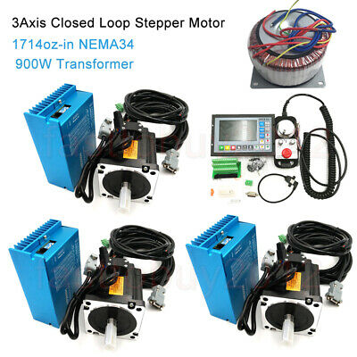 12NM 3Axis Nema34 Motor Closed Loop Stepper Drive Kit+Transformer+CNC Controller