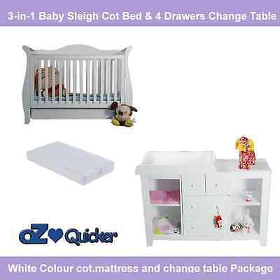 Nursery Baby Cot With Mattress Plus 4 Drawer Change Table Furniture Package