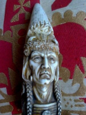 Fab scrimshaw..Detailed carving....highly detailed..American Native chieftain