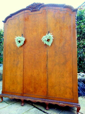 VINTAGE - Triple WARDROBE Armoire FRENCH Country Rustic Linen Press - BEAUTIFUL