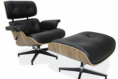 Plywood Lounge Chair & Ottoman Reproduction 100% Genuine Leather Black Walnut
