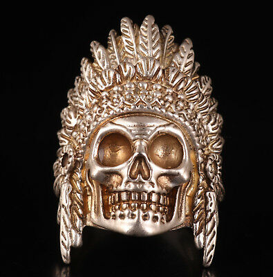 Tibet Silver Ring Sacred Indian God Skull Magic Old Collection