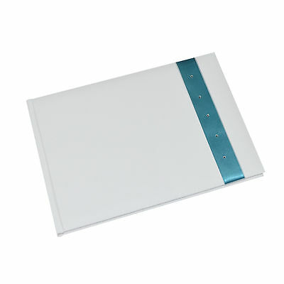 White Wedding Guest Book with Crystal Decorated Turquoise Ribbon