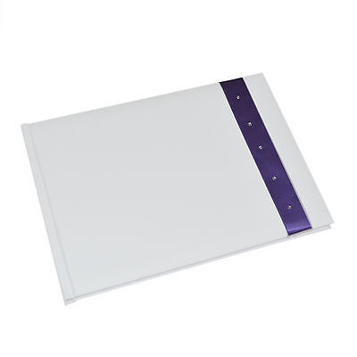 White Wedding Guest Book with Crystal Decorated Purple Ribbon
