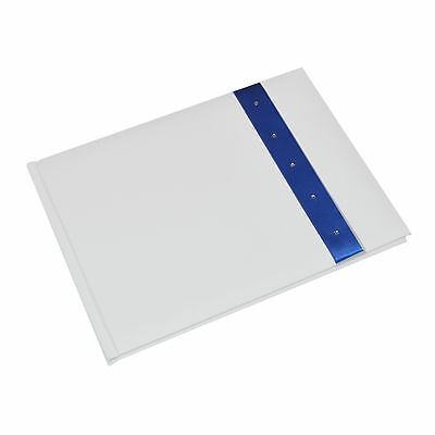 White Wedding Guest Book with Crystal Decorated Blue Ribbon