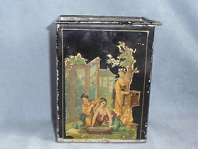 rare  antique chinese tea caddy tin box tee blechdose container  late 19.th c
