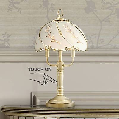 Traditional Accent Table Lamp Brass Touch On Glass Shade for Living Room Bedroom