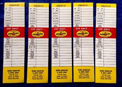 Lot 5 vintage Pennzoil Lubrication Oil Service Door Stickers Decal NOS