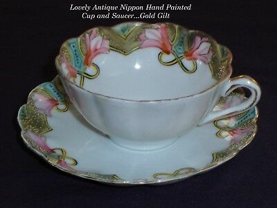 LOVELY Antique/Vtg Nippon China Cup & Saucer/Hand Painted/Gold Gilt