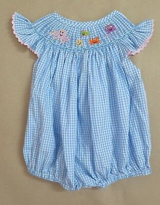 Beautiful Blue Smocked Bubble With Ocean Life Details NWT Size 6M