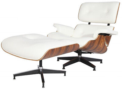 Plywood Lounge Chair & Ottoman Reproduction Genuine Leather White Palisander