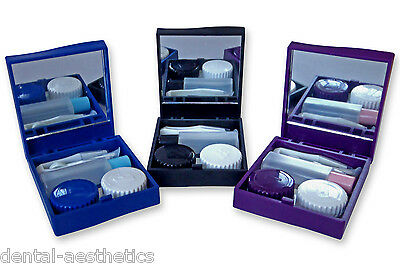 Contact Lens Travel Kit Case ~ Mirror Tweezers & Solution Storage Set for Lenses