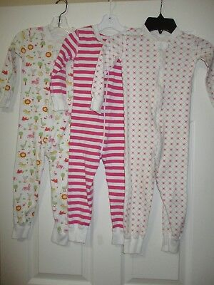 Hanna Andersson 90 LOT OF 3 Zipper Pajamas Pink Girls One Piece Long Sleeves 3T