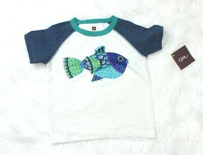 Tea Collection NWT Boy 18-24 2T   T-Shirt Blowfish Tee Fish Blue Green New