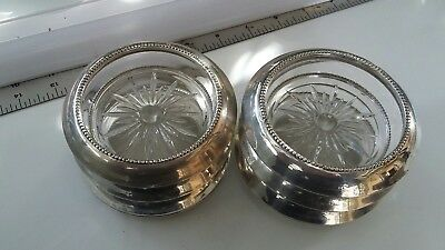 "6- Vintage Sterling Silver & Cut Glass Frank M Whiting Coasters 3-3/4"" free ship"