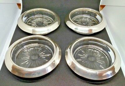 Vintage set of 4 Frank M. Whiting&Co Sterling 04 Cut Glass Coaster Set.