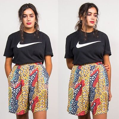 Culottes Vintage Red & Yellow Absrtact Geometric Print Shorts Summer 8
