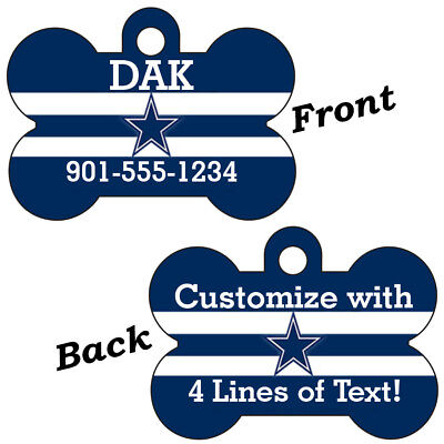 Dallas Cowboys Double Sided Pet Id Dog Tag Personalized w/ Name & Number