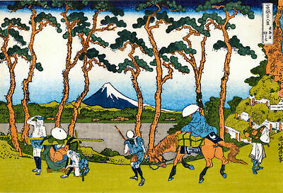 Japanese Woodblock Repro Print Travellers in Hodogoya Disrict Picture By Hokusai